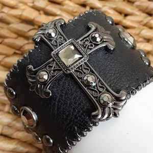 Black Leather Cuff Cross and Stones